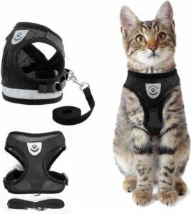 Kattentuigje met looplijn - Zwart Kattenharnas - Easy Step In - Kattenriem - Kattenlijn - Kattentuig