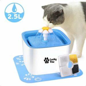 Lucky Paw Drinkfontein voor kat met 3 filters & matje - Water fontein - Waterdispenser - Waterautomaat - 2,5 L