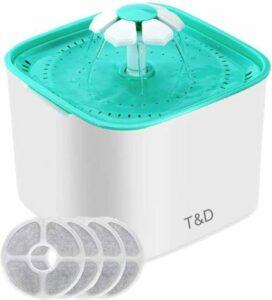 T&D - Drinkfontein Voor Kat - Kattenfontein - Water Fontein - Drinkbakken - Poezen Fontein Set met 4 Filterpatronen