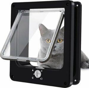 Pet Select Kattenluik Zwart met Tunnel – 4 Vergrendelingsstanden – Weerbestendig