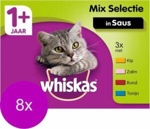 Whiskas 1+ Mix In Saus - Kattenvoer - 8 x 12x100 g