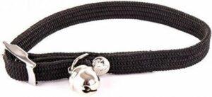 Halsband voor kat elastisch nylon zwart 30x1 cm