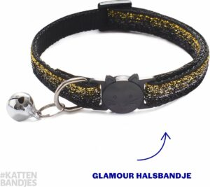 Kattenhalsband - Halsband kat - Kitten - Kattenbandje glitter zwart-goud - Kattenhalsbandje met veiligheidssluiting en belletje