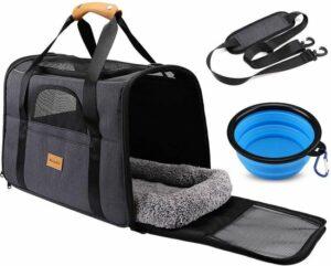 Rexa® Huisdiertas Grijs-Zwart Reis tas schoudertas voor katten