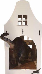Petsdam Het Dorpshuisje Kattenhuis Krabkartonnen Bodem Kleur Wit